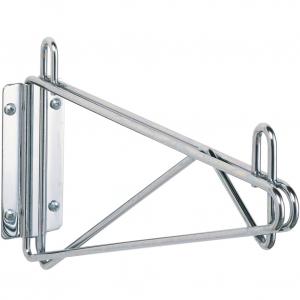 Кронштейн настенный одинарный крайний для полки глубиной 355мм, сталь с покрытием хромоникелевым, для сухих помещений