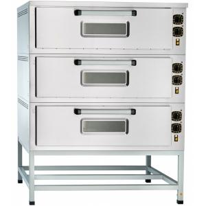 Печь для хлеба электрическая подовая, 3 камеры 1030х800х280мм, электромех.упр., двери стекло, под сталь, паровулажнение, лицо н/с, +320С, ст.от