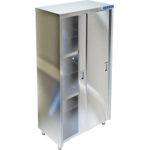 Шкаф кухонный, 1500х500х1750мм, 2 двери-купе, 3 полки сплошные, нерж.сталь 430, сварной, задняя стенка из нерж. стали 430