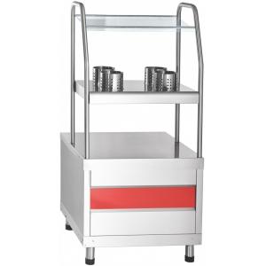 Прилавок для столовых приборов, подносов и хлеба, L0.63м, нерж.сталь, 3 уровня