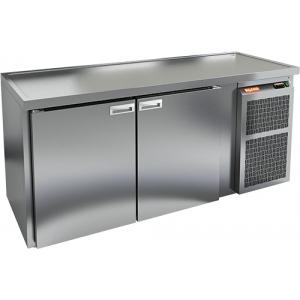 Cтол холодильный для кег и розлива пива, L1.95м,  без борта, 2 двери глухие, ножки, 590л, +2/+10С, нерж.сталь, дин.охл., агрегат правый, 3 кеги