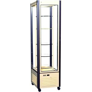 Витрина холодильная напольная, вертикальная, кондитерская, L0.58м, 4 полки вращающиеся, +2/+10С, дин.охл., коричнева+беж, 4-х стороннее остекление