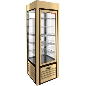 Витрина холодильная напольная, вертикальная, L0.60м, 5 полок, +2/+10С, дин.охл., бежевая, 4-х стороннее остекление, ножки низкие