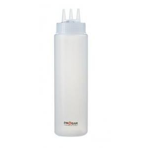 Бутылка для соуса 690мл D 7см h 26см с тремя носиками, пластик прозрачный