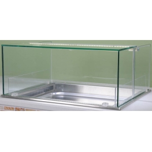 Витрина холодильная встраиваемая, горизонтальная, L0.78м, +2/+8С, 1GN2/1, дин.охл., стекло прямое, дверь откидная Г-образная, подсветка 2700К