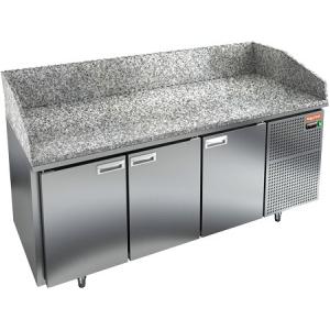 Стол холодильный для пиццы, GN2/3, L1.84м, 3 двери глухие, ножки, +2/+10С, нерж.сталь, дин.охл., агрегат справа, гранит.пов.