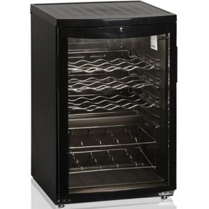 Шкаф холодильный для вина,  22 бут. (92л), 1 дверь стекло, 4 полки, ножки, +2/+10С, стат.охл., чёрный, R600a
