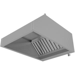 Зонт вытяжной пристенный, 1200х800х400мм, лаб.фильтры, кепкой, нерж.сталь 430, без подсветки, без отверстия