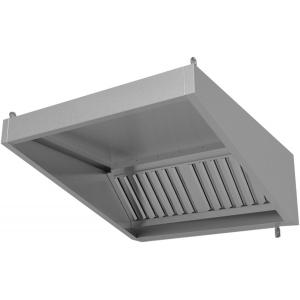 Зонт вытяжной пристенный,  900х900х400мм, лаб.фильтры, нерж.сталь 430, без подсветки, без отверстия, фильтры открытые