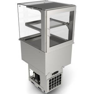 Витрина холодильная встраиваемая, L0.60м, 1 полка, +2/+10С, дин.охл., нерж.сталь, стекло фронтальное прямое, LED подсветка, выносной ПУ, ТЭН