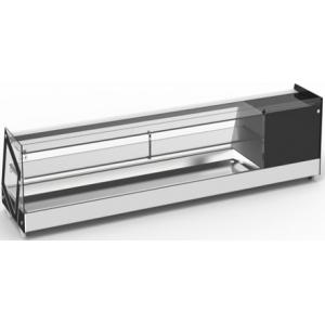 Витрина холодильная настольная, горизонтальная, 1 полка, L1.48м, 6GN1/3, 0/+12С, черная. прямое стекло, кубическая форма