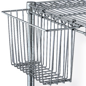 Корзина для стеллажа, 440х190х255мм, подвесная, сталь с покрытием хромоникелевым, для сухих помещений (Уценённое)