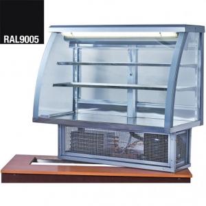 Витрина холодильная встраиваемая, горизонтальная, кондитерская, L1.26м, 2 полки, 0/+8С, стат.охл., черная, стекло фронтальное гнутое