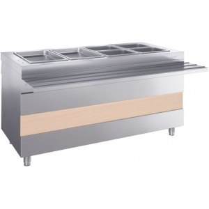 Мармит электрический для вторых блюд, L1.50м, 4GN1/1, нагрев паровой, стенд закрытый, нерж.сталь, отверстия под полку, направляющие