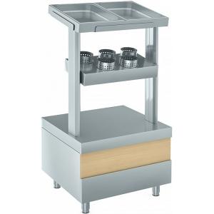 Прилавок для столовых приборов, подносов и хлеба, L0.70м, нерж.сталь, 2 полки, 2GN1/1-40, 5 стаканов