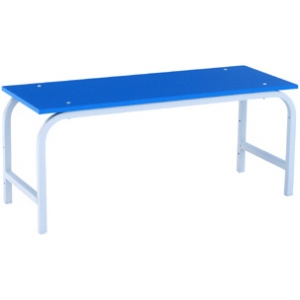 Cкамья гардеробная,  600х400х450мм, сидение из ЛДСП синее, каркас краш.металл светло-серый