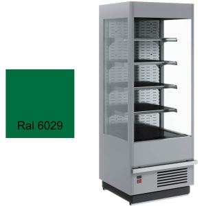 Стеллаж холодильный, пристенный, L0.60м, 4 полки, 0/+7С, дин.охл., зеленый, фронт открытый, боковины стекло, ночная шторка, подсветка