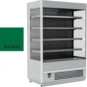 Стеллаж холодильный, пристенный, L1.06м, 4 полки, 0/+7С, дин.охл., зеленый, фронт открытый, боковины стекло, ночная шторка, подсветка
