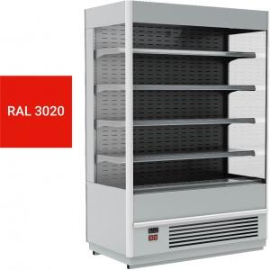 Стеллаж холодильный, пристенный, L1.06м, 4 полки, 0/+7С, дин.охл., красный, фронт открытый, боковины стекло, ночная шторка, подсветка