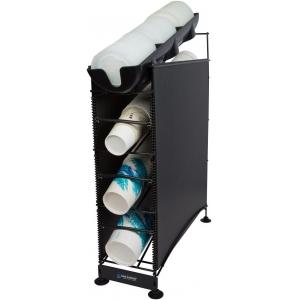 Диспенсер для стаканов и крышек, 236-1300мл D73-120мм, настольный, 4 уровня, боковые панели черные