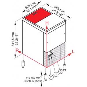 Льдогенератор для крупногранулированного льда,   85кг/сут, бункер 35.0кг, вод.охлаждение, корпус нерж.сталь, верхняя сдвижная крышка