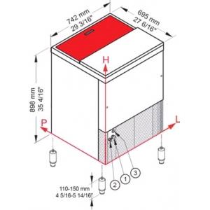 Льдогенератор для крупногранулированного льда,  140кг/сут, бункер 60.0кг, вод.охлаждение, корпус нерж.сталь, верхняя сдвижная крышка