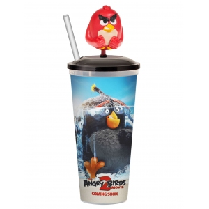 Стакан пласт. д/напитков «Angry Birds в кино 2», 0.5л, крышка, трубочка