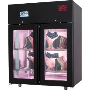 Шкаф для созревания мяса,  546л, 2 двери стекло, 2 полки, ножки, -2/+5C, дин.охл., 2 пары направляющих, нерж.сталь, заднее стекло