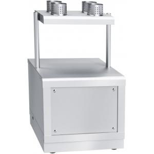Прилавок для столовых приборов и подносов, L0.67м, нерж.сталь, 4 стакана, фасад нерж. съёмный