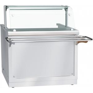Мармит электрический для первых блюд, L1.12м, 2 конфорки круглые, нерж.сталь, 1 полка стекло, экран, направляющие, фасад нерж. съёмный