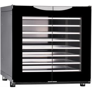 Шкаф расстоечный,  8х(400х600), 2 двери распашные стекло, +30/+85С, эмалир., 220V, ножки, электромех.упр., увлажнение, эргон.ручки