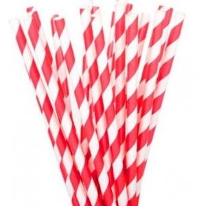 Трубочки для напитков бумажные D 6мм L 197мм полоска красный/белый