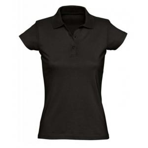 Футболка ПОЛО женская короткие рукава черная, р-р L (48)