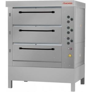 Печь для хлеба электрическая подовая, 3 камеры  965х760х250мм, электромех.упр., паровулажнение, нерж.сталь, стенд открытый