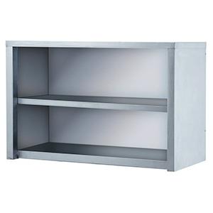 Полка настенная, 1000х420х640мм, 2 уровня сплошных, полузакрытая без дверей, нерж.сталь 430, задняя стенка оцинк.сталь