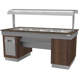 Прилавок холодильный, L1.95м, ванна охлаждаемая 5GN1/1, 0/+8С, 1 тумба, нерж.сталь+ЛДСП Дуб Гладстоун табак, столешница камень Dark Emperador BQ-8560,