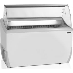 Витрина морозильная напольная, горизонтальная, для мороженого, L1.34м, 19 лотков, -14/-20С, стат.охл., стекло фронтальное гнутое