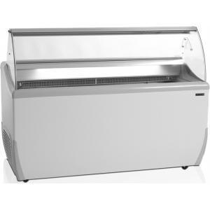 Витрина морозильная напольная, горизонтальная, для мороженого, L1.66м, 25 лотков, -14/-20С, стат.охл., стекло фронтальное гнутое
