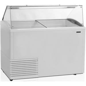 Витрина морозильная напольная, горизонтальная, для мороженого, L1.34м, 22 лотка, -14/-20С, стат.охл., стекло фронтальное прямое, крышки стекло