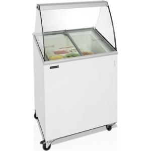 Витрина морозильная напольная, горизонтальная, для мороженого, L0.72м, 4 лотка, -14/-24С, стат.охл., стекло фронтальное гнутое, крышки стекло наклонны