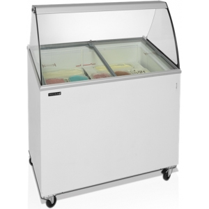 Витрина морозильная напольная, горизонтальная, для мороженого, L1.01м, 7 лотков, -14/-24С, стат.охл., стекло фронтальное гнутое, крышки стекло наклонн