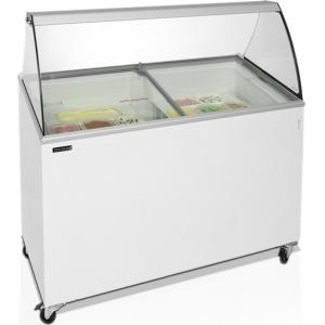 Витрина морозильная напольная, горизонтальная, для мороженого, L1.30м, 9 лотков, -14/-24С, стат.охл., стекло фронтальное гнутое, крышки стекло наклонн