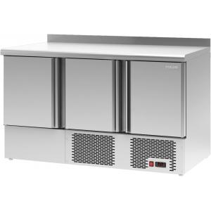 Стол холодильный, GN1/1, L1.38м, борт, 3 двери глухие, ножки, -2/+10С, нерж.сталь, дин.охл., арегат нижний