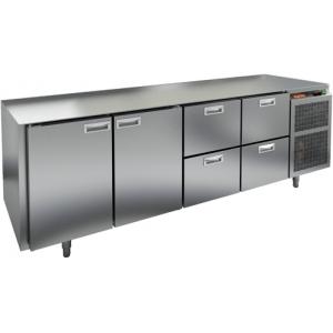 Стол холодильный, GN1/1, L2.28м, без столешницы,  2 двери глухие+4 ящика, ножки, -2/+10С, нерж.сталь, дин.охл., агрегат справа
