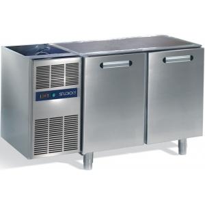 Стол холодильный, L1.26м, без столешницы, 2 двери глухие, ножки, 0/+8С, нерж.сталь, дин.охл., агрегат слева