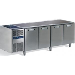 Стол холодильный, L2,18м, без столешницы, 4 двери глухие, ножки, 0/+8С, нерж.сталь, дин.охл., агрегат слева