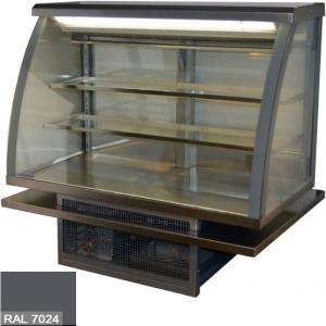 Витрина холодильная встраиваемая, горизонтальная, кондитерская, L1.01м, 2 полки, 0/+8С, стат.охл., графитово-серая, стекло фронтальное гнутое