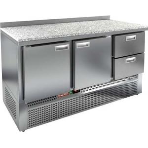 Стол холодильный, GN2/3, L1.49м, борт H50мм, 2 двери глухие+2 ящика, ножки, -2/+10С, нерж.сталь, дин.охл., агрегат нижний, гранит.пов.