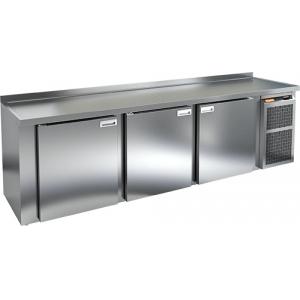 Cтол холодильный для кег и розлива пива, L2.84м, борт H50мм, 3 двери глухие, ножки, 825л, -2/+10С, нерж.сталь, дин.охл., агрегат правый, 5 кегов