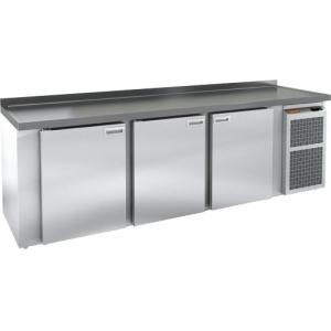 Cтол холодильный для кег и розлива пива, L2.84м, борт H50мм, 3 двери глухие, ножки, 825л, -2/+10С, пластификат, дин.охл., агрегат правый, 5 кегов, сто